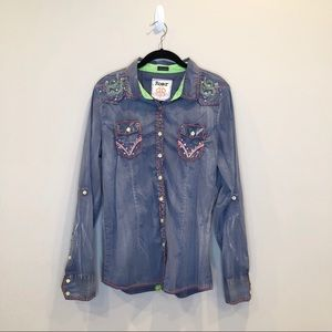 Roar Chambray Western Shirt, Sz XL